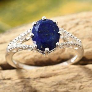 Lapis Lazuli Sterling Silver Split Shank Ring